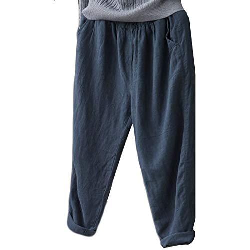 GYUANLAI Harlan Pantaloni Moda Donna retrò Sciolto Pantaloni Casual Elastico in Vita Pantaloni di Lino Estate delle Donne di Colore Solido Sottile Nove Pantaloni(Blu scuro-5XL)