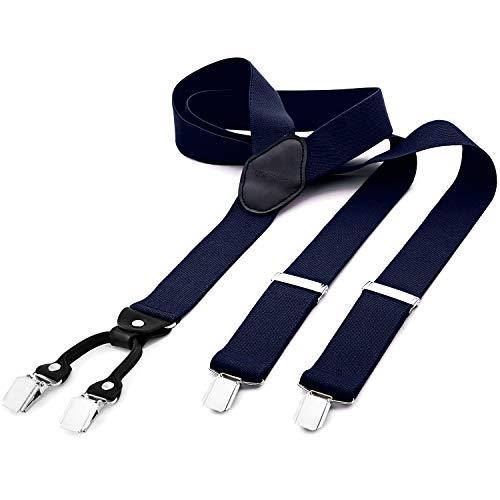 DonDon Bretelle uomo larghe 3,5 cm 4 clips in pelle a y - elastiche e regolabili blu scuro
