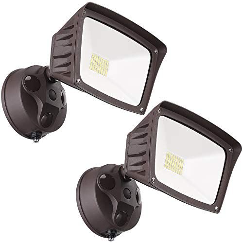 LEONLITE LED Outdoor Flood Light, Dusk-to-Dawn (Photocell Included), 3400lm, Waterproof Security Floodlight, ETL-Listed Exterior Lighting for Yard, 5000K Daylight, Pack of 2