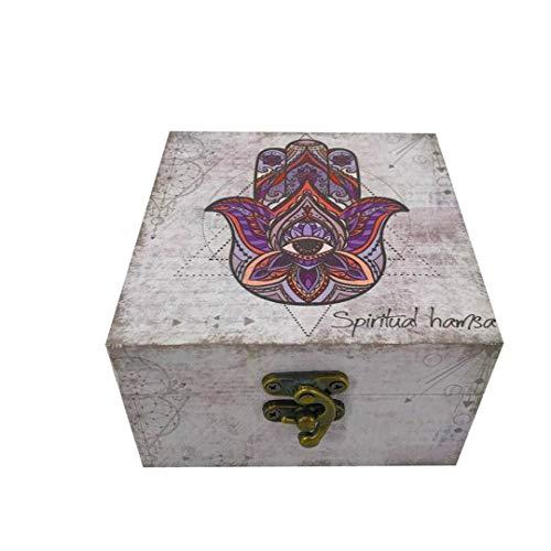 Caja Cuadrada Mano De Fátima, 12 X 12 X 7 CM - SIMBOLO DE PROTECCIÓN