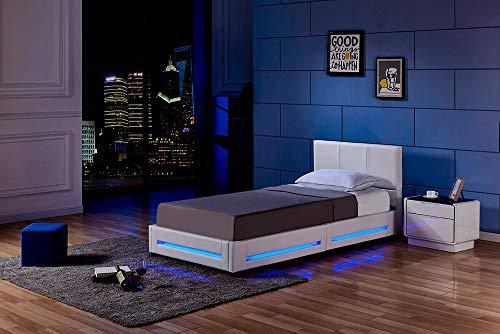 Home Deluxe - LED Bett Asteroid - 90 x 200 cm Weiß I Polsterbett Design Bett inkl. Beleuchtung