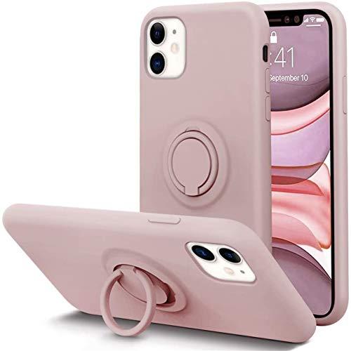 Jancyu Cover iPhone 12 PRO Max, Silicone Liquido Case con Supporto ad Anello Protezione Completa Antiurto Shock-Absorption Cover per Apple iPhone 12 PRO Max 2020. (1, Rosa)