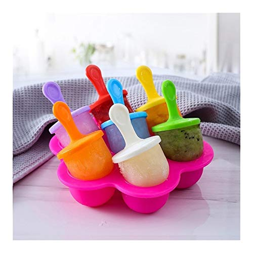 Healthy 7 Holes Portable Fruit Shake Accessories Baby DIY Food Supplement Tools Popsicle Mould Ice Cream Ball Maker Food Grade Silicone catered (Color : Rose red)