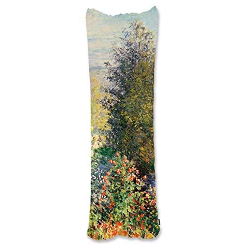 BONNIU Funda Decorativa Cojin con Cremallera 50X135 cm Protectores Almohada Terciopelo Paisaje Dakimakura Cover - Monet - Esquina del Jardín En Montgeron 1876