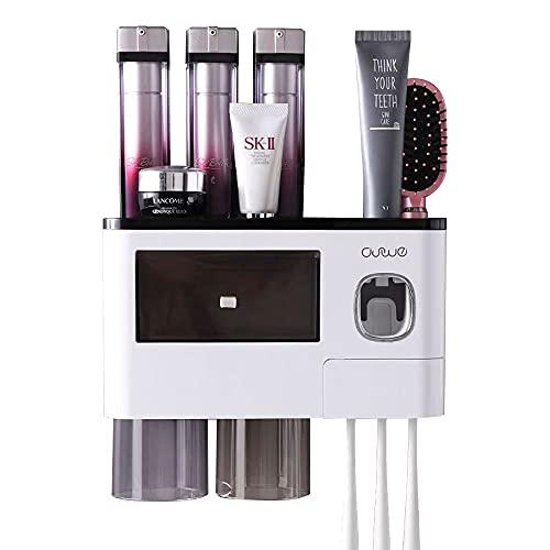 Dispensador de pasta de dientes automático (2 tazas, transparente)