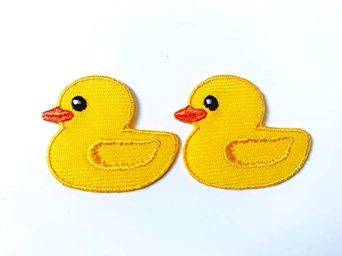 TH Set of 2 Tiny. Mini Yellow Little Duck Cute Logo Cartoon Patch Embroidered Sew on Iron on Patch for Backpacks Jeans Clothing etc.