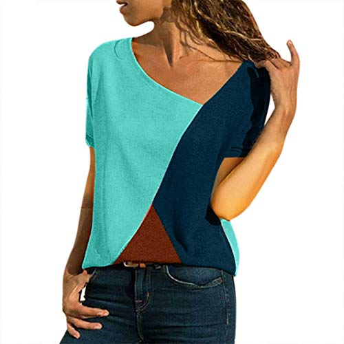 CixNy Damen Diverse T Shirts, Kurzarm Bluse Camisole Trägershirts Sommer Crop Vest Weste Oberteil Color O-Neck Casual Short Sleeved Patchwork Striped Tops S-5XL