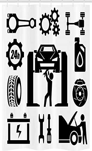 ABAKUHAUS Automonteur Douchegordijn, auto repareren, voor Douchecabine Stoffen Badkamer Decoratie Set met Ophangringen, 120 x 180 cm, Charcoal Grey White