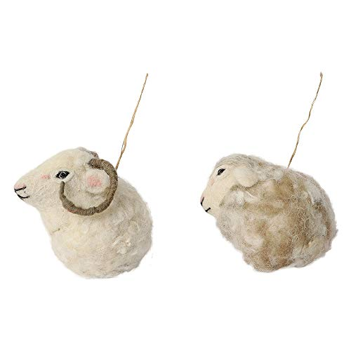 De KultureTM Hand Made Vilt Schapen en Ram Bauble Ornament (Set van 2) 2.5x4.5x3 (LWH) Voor Home Decoratie Party Decoratieve Office Decor Ideale Forr Kerst Decoratie