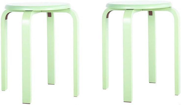 gzz Tabouret rond nordique en bois, tabouret empilable pour chaise couleur bonbon, tabouret en bois courbé naturel avec 4 pieds,Champagne Or Vert