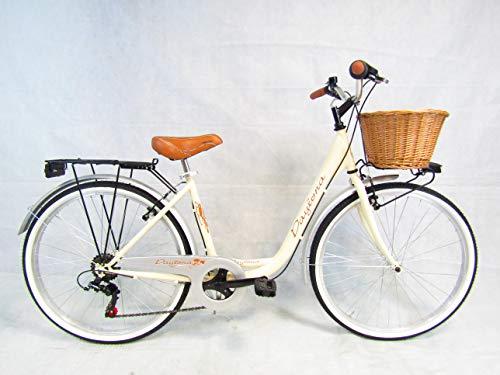 Daytona bicicletta donna bici da passeggio city bike 26 monotubo vintage cesto in vimini