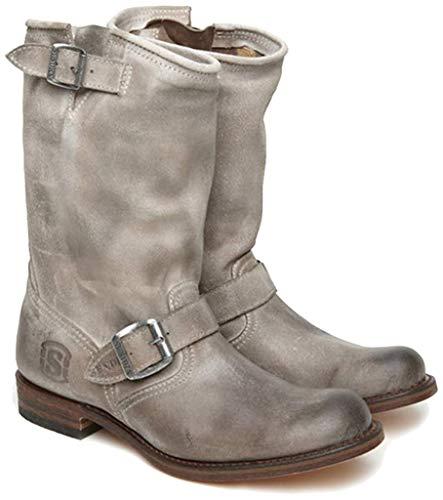 Sendra Boots 2944 JYJY Biker-Stiefel aus weichem Wildleder, gefettet, in Used-Optik, Beige - beige - Größe: 35 EU