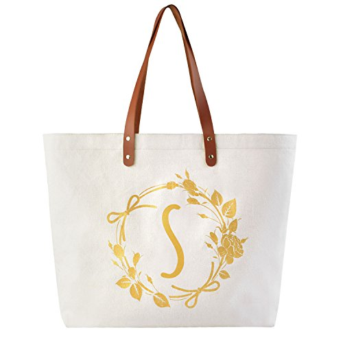 ElegantPark Monogrammed Gifts for Women Personalized Gifts Bag Monogram S Initial Bag Tote for Wedding Bride Bridesmaid Gifts Birthday Gifts Teacher Gifts Bag with Pocket Canvas