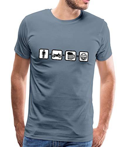 Motorrad Mann Bike Bier Glücklich Piktogramme Männer Premium T-Shirt, XL, Blaugrau