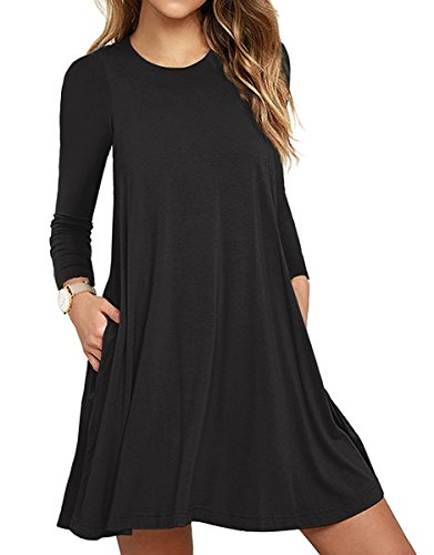 Unbranded Women's Long Sleeve Pocket Casual Loose T-Shirt Dress Black X-Small
