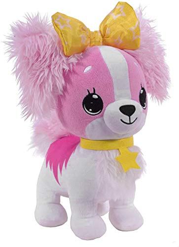 Wish Me Pets - Light Up LED Plush Stuffed Animals - Pink Cavalier Puppy with Yellow Bow