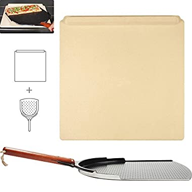 """The Ultimate Pizza Making Kit – 14"""" x 16"""" Pizza Stone and 14"""" Pizza Peel 