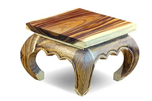 Kinaree Opiumtisch Natur - 35x35cm Holz Opium Beistelltisch aus massiver Akazie geeignet als Nachttisch oder Blumenhocker