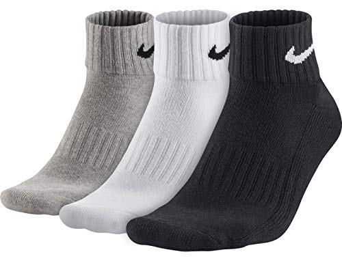 Nike One Quarter Socks 3PPK Value, Calzini Unisex – Adulto, Multicolore (Gryhthr/Bk/Wh/Bk/Bk/Wh), 38-42 EU