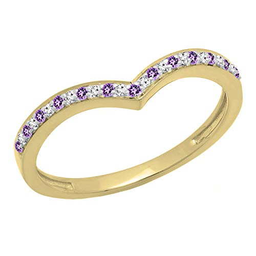 Dazzlingrock Collection 14K Amethyst & White Diamond Wedding Stackable Band Guard Chevron Ring, Yellow Gold, Size 7