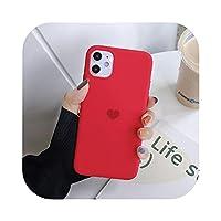 iPhone 11 Pro Maxかわいいラブハートキャンディーの電話シェルソフトシリコーンTPUカバーiPhone X XS XR MAX 6 6S 8 7 PLUS -Red-For iPhone 11