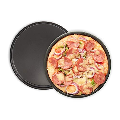 Kslong 2 runde Pizza-Backbleche, antihaftbeschichtet, Pizzablech für Ofen, Karbonstahl, Pizza-Pfanne, 20,3 cm