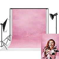 UrcTepics 5x7フィート マイクロファイバー レトロ 抽象 ピンク 背景 キャンバス ポートレート 背景 ピンク ポリ 背景 写真撮影 ビデオ スタジオ 装飾 小道具