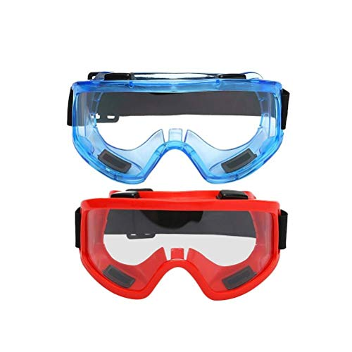 Lunettes de moto 2pcs lunettes de sécurité lunettes équipement de protection individuelle moto lunettes poussière vent éclaboussure preuve de résistance à l'impact for le travail (rouge bleu)