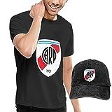 Baostic Camisetas y Tops Hombre Polos y Camisas, River Plate FC T-Shirts and Caps, Black Fashion Sport Casual T-Shirt + Cowboy Hat Set for Men