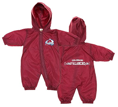 NHL Colorado Avalanche Baby Boys Infant Windbreaker Hooded Coverall, Burgundy