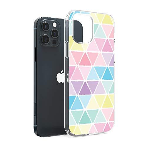 CasesByLorraine Compatible con iPhone 12 Pro Max 6.7 pulgadas, patrón triángulos de color pastel flexible TPU gel suave cubierta protectora para iPhone 12 Pro Max 6.7 pulgadas (versión 2020)