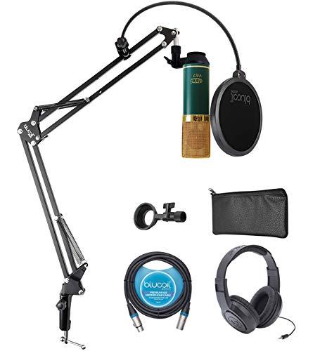 MXL V67G Large Capsule Condenser Microphone for Vocals, Guitars, Acoustic Instruments Bundle with Samson SR350 Headphones, Blucoil Boom Arm Plus Pop Filter, and 10-FT Balanced XLR Cable