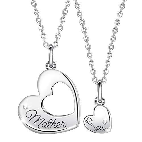 EUDORA Mutter Tochter Kette Charms Herz Mama Kette, S925 Sterling Silber Schmuck Halsketten Herz für Mama Tochter, geburtstagsgeschenk für Mama Tochter