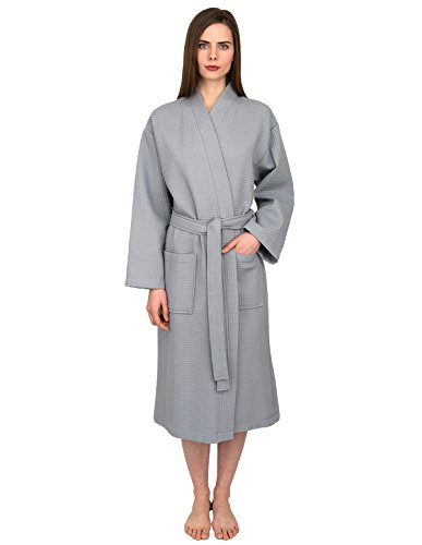 TowelSelections Turkish Bathrobe Waffle Kimono Robe for Women and Men Medium/Large Quarry