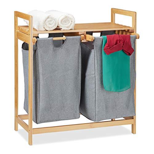 Relaxdays Cesto para la ropa sucia con estante, 2 compartimentos, 2 bolsas de 30 L, cesta para la colada de bambú, 73 x 64 x 33 cm, natural/gris, 1 unidad