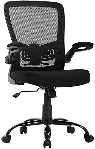 Ergonomic Office Chair, Home Office Chair Desk, Height Middle Back Mesh Drafting Chair, Support Flip Up Arms Swivel Rolling Adjustable Mid Back Computer Chair for Women Men Adults,Black