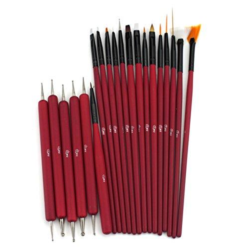 Glow 20 Piece Kit de pinceaux et d'outils de pointage pour ongles - Qualité Premium - Parfait pour les débutants et les professionnels - Kit pratique abordable avec manche en bois - Couleur rouge