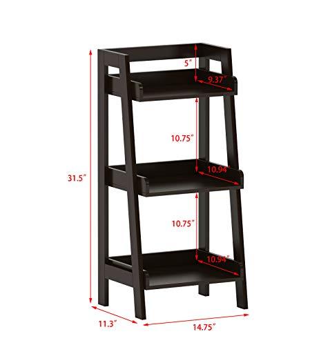 UTEX 3-Tier Ladder Shelf, Bathroom Shelf Freestanding, 3-Shelf Spacesaver Open Wood Shelving Unit, Ladder Shelf (Espresso)