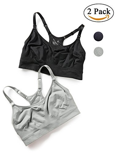 Product Image of the Gratlin Women's Racerback Support Seamless Maternity Nursing Bra Black/Silver...