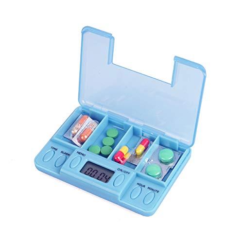 Pastillero electrónico de bolsillo con alarma dividido en 4 compartimentos para su medicación semanal; por su tamaño es adecuado para llevarlo encima, para un fin de semana.etc