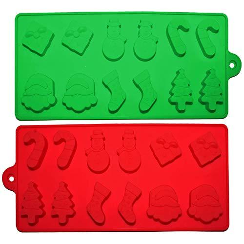 2 Moldes de Silicona para Fiesta Celebración de Navidad – Bandejas, 6 Figuras Navideñas para Repostería, Tortas, Galletas, Magdalenas, Utensilio de Cocina, Adornos, Velas, Hielo y Decoraciones