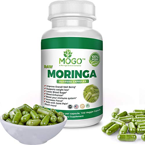 180 Organic Moringa Leaf Powder Capsules -Max 2100mg Per Serving.Immune and Energy Booster,Multivitamin,Boost Metabolism,Natural Weight Loss,Antioxidant Rich Superfood Supplement -MOGO™