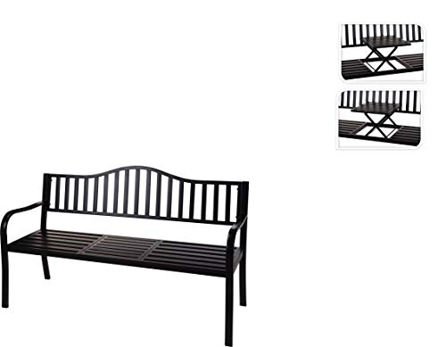 idooka Outdoor Black Metal Garden Park Bench Patio with Pop up and Collapsible Table Seat Portable 3 Seater (150cm x 60cm x 85cm WxDxH) Convenient Space Saving Table and Chairs Option
