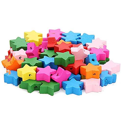 YYAOO 400 cuentas de madera sueltas de color de madera con cinco puntas, cuentas espaciadoras de madera para hacer joyas y regalos de niños