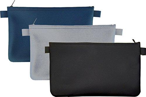 3 Banktaschen aus Kunstleder (je 1 x blau, 1 x grau, 1 x schwarz)