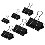 DSTELIN Binder Clips Paper Clamps Assorted Sizes 100 Count (Black), X Large, Large, Medium, Small, X Small and Micro, 6 Sizes in One Pack, Meet Your Different Using Needs