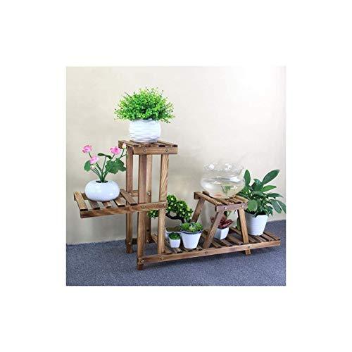 Soporte para plantas Estante para macetas Stand blumentopfregal estante de madera madera sólido maderas de madera soporte continental interior balcón bastidor de pescado con bonsai 105 \ u0026 veces;2