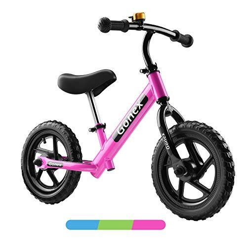 Gonex Bicicletta Senza Pedali per Bambini, Balance Bike 12', Bici per Bambini Minibike con Ruote in Schiuma Eva & Manubrio Sella Regolabile per Bambini da 2 a 6 Anni (Rosa)