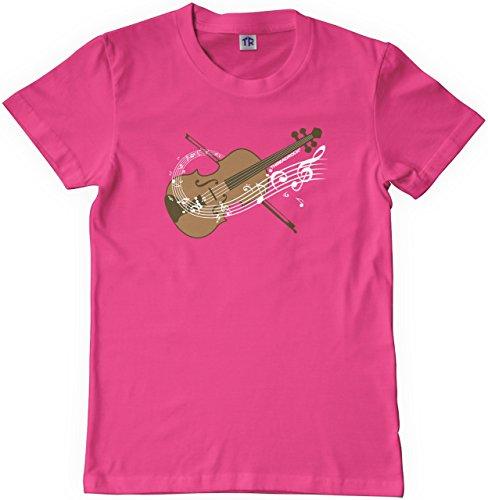 Threadrock Big Girls' Violin Youth T-Shirt L Fuchsia