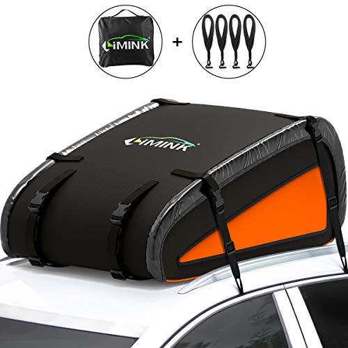 LIMINK - Cofre de techo para coche, resistente al agua, plegable, con 4 ganchos para puertas y correas ajustables para todos los vehículos con/sin portaequipajes, 15 pies cúbicos